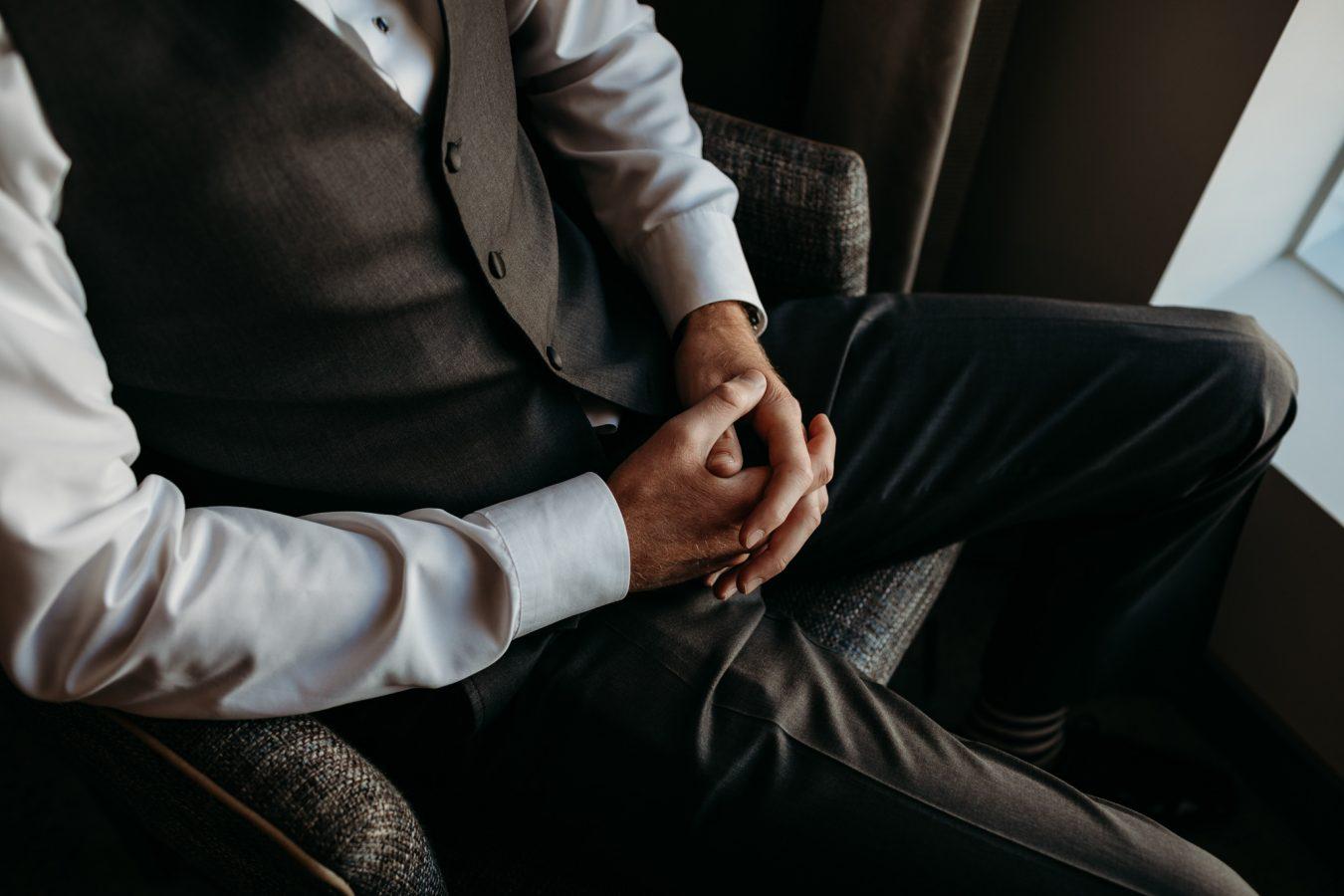 hands groom quiet moment